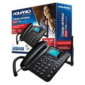 Caixa e Aparelho Telefone Celular de Mesa Aquário Dual CA-42