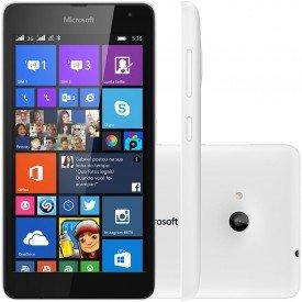 Frente Lado e Traseira do Microsoft Lumia 535 Branco