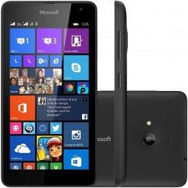Frente Lado e Traseira do Microsoft Lumia 535 Preto