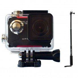 kit camera xtrax evo wifi case a prova dagua bastao retratil principal