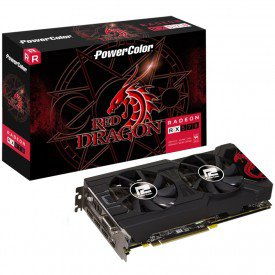 Caixa Placa de Vídeo PowerColor Radeon RX 570 4GB Red Dragon